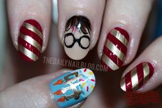 thedailynailblog:    HP BDay!  I'm not sure if y'all know this (since I'm new to Tumblr), but I'm a ginormous Harry Potter fan…and today, July 31, is his birthday!!  So bake a cake and break out those candles, because it's time to say Incendio! to go along with these nails!  See Full Post.    Happy belated birthday to Harry Potter and JK Rowling!