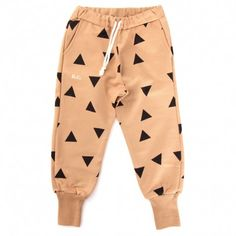 Bobo Choses american fleece pant (creamsicle with geometric triangles all over)