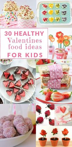 Healthy Valentines Treats, snack and meal ideas for kids. Cute for breakfast, lunch and dinner and to take to school. Dessert ideas too.