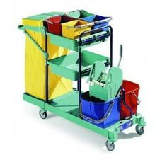 Carro limpieza de medidas: 53 x 127 x 107 cm. Contiene: carro, tapa, bolsa, 4 cubos , cubo doble ( 2 x 25 )