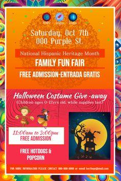 Hispanic Heritage Month Family Fair Invite Flyer Poster Template Hispanic Heritage Month Hispanic Heritage Hispanic