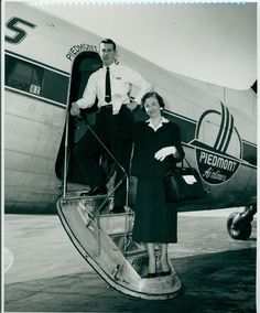 This image shows flight attendant Mickey Treadway and Daisy Taylor boarding a plane to Paris, France. Mrs. Taylor, a supervisor of the casualty section of Bennett & Edwards underwriting department, was on her way to join her husband who was in the army.