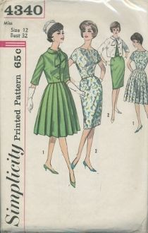 An original ca. 1962 Simplicity Pattern 4340.  Dress has slightly lowered neckline, short set-in sleeves and back zipper closing.  Belt is self or purchased.  V. 1 features full skirt with pressed or unpressed pleats.  Slim skirt, V. 2 features gathers at front waistline and back kick pleat.  Lined jacket, both views, has tie collar, below elbow length set-in sleeves and front button closing.