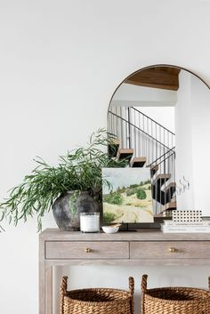Entryway Mirror, Arch Mirror, Entryway Decor, Entryway Cabinet, Cool Mirrors, Studio Mcgee, The Ranch, Home Decor Inspiration, Vignettes