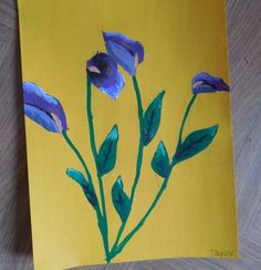 Calla lilies are a great study in drawing what you see instead of what you know particularly for younger children who typically only have one or two ways of drawing flowers at the ready.  And using contrast colors really makes them pop.