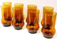 SOLD SOLD SOLD!!! Vintage Amber Art Glasses Handblown Tumblers Tea Water Set of 8