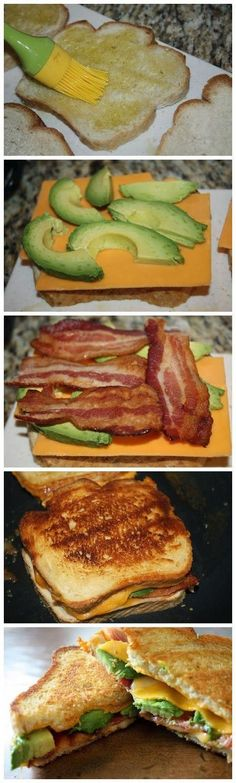Bacon Avocado Grilled Cheese on sour dough bread, yum!.