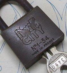 Vintage French Brass Iron padlock metal lock by alacarteatelier