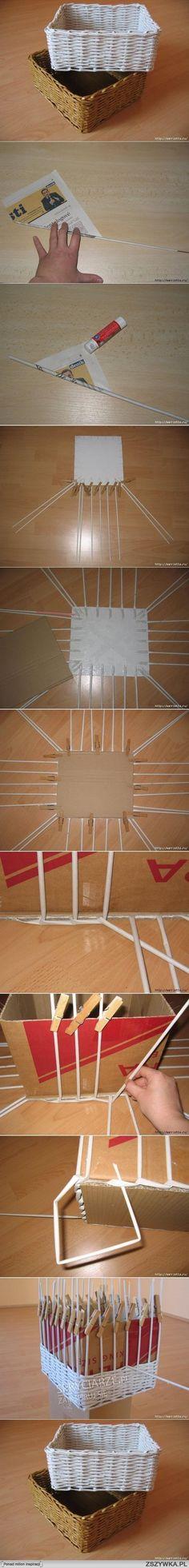 caja de mimbre hecha con papel