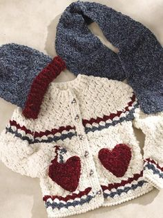 Crochet Sweater pattern - change the colors, lose the hearts, and easily could be a boys sweater too!