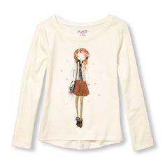 s Long Lace Sleeve Embellished Fashionista Graphic Top - White - The Children's…
