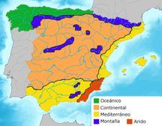 En este mapa se señala los principales sistemas bioclimáticos existentes en la península ibérica. Los tres grandes climas son: el oceánico, el continental y el mediterráneo. En la misma se señala el clima de montaña en los principales accidentes montañosos de la península, así como el clima árido predominante en el extremos mas sureste de España.