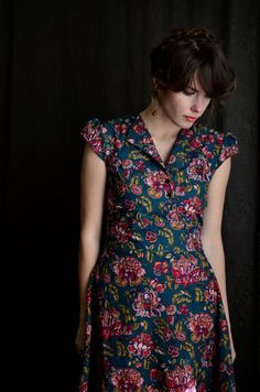 House Dress with Cap Sleeves by LetsBacktrack on Etsy