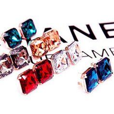 Special Offer Big Grass Geometric Square Gem Korean Bib OL Statement Stud Earrings Fashion Jewelry Gift For Women Wholesale E12