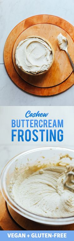 AMAZING Creamy Cashew Buttercream Frosting 2 Ways! Simple ingredients, naturally sweetened, SO versatile! Baker Recipes, Vegan Recipes, Dessert Recipes, Paleo Meals, Free Recipes, Gluten Free Desserts, Vegan Gluten Free, Vegan Vegetarian, Dairy Free