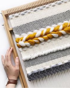 Weaving with different textures. Love the yellow in here. # Braids with weave colour Weaving Textiles, Weaving Art, Weaving Patterns, Loom Weaving, Tapestry Weaving, Hand Weaving, Teal Tapestry, Yarn Crafts, Home Crafts