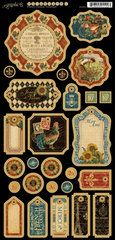 Graphic 45 - French Country Collection - Die Cut Chipboard Tags - One