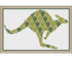 Kite Kangaroo in Khaki Kiwi and Kelp - Counted Cross Stitch Pattern (X-Stitch PDF) Cross Stitch Needles, Cross Stitch Fabric, Counted Cross Stitch Patterns, Cross Stitch Embroidery, Dmc Embroidery Floss, Hand Embroidery, Back Stitch, Stuffed Animal Patterns, Kite