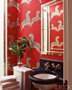 Upstairs bathroom wallpaper: Scalamandre's Zebras wallpaper