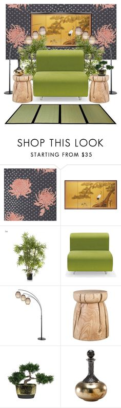"""""""Floral Wall"""" by creation-gallery ❤ liked on Polyvore featuring interior, interiors, interior design, home, home decor, interior decorating, Knoll, Adesso, Pier 1 Imports and Wildwood"""