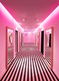 Black White Stripe Floor With Neon Pink Walls