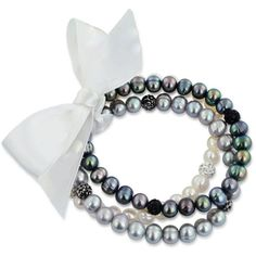 Honora Style Black and Gray Cultured Freshwater Pearl and Crystal... (3,195 THB) ❤ liked on Polyvore featuring jewelry, bracelets, bracelet jewelry, bracelet bangle, crystal jewelry, star bracelet and honora bracelet