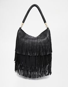 Dune Black Fringe Shoulder Bag 32