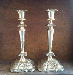 * Vintage English Tall Silver Candlestick Pair, Classic Ornate Style traditional-candles-and-candle-holders