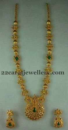 Uncut Floral Peacock Long Set | Jewellery Designs
