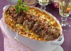 Fläskfilégratäng med färskost – perfekt bjudrätt! Curry, Tacos, Food And Drink, Beef, Ethnic Recipes, Meat, Curries, Ox, Ground Beef