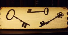 Skeleton Key Set Steampunk Black & White Hand Painted Art on Reclaimed Wood Salvaged From Antique Furniture