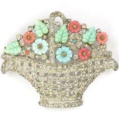 Mazer Pastel Fruit Salads Pave Basketwork Flower Basket Pin. Vintage costume jewelry x