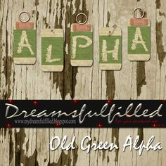 Dreamsfulfilled: Old Green Alpha. Alfabeto con forma de etiquetas en color verde.
