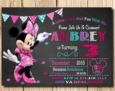 Minnie Mouse Invitation, Minnie Mouse Party Invitation, Minnie Mouse, birthday, free thank you c Minnie Mouse Birthday Invitations, Minnie Mouse First Birthday, Mickey Mouse Invitation, Minnie Mouse Party, First Birthday Parties, First Birthdays, 3rd Birthday, Birthday Ideas, Mickey Party