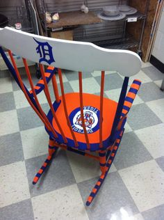 Detroit tigers chair by ThePaintedTurtleShop on Etsy, $150.00