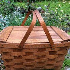 Vintage Handmade Split Oak Picnic Basket by putnamandspeedwell