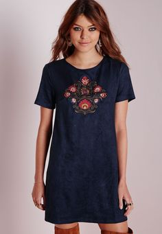 Missguided - Embroidered Faux Suede Shift Dress Blue