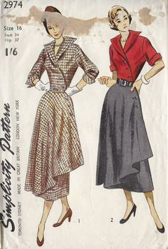 1949 Vintage Sewing Pattern B34 DRESS (1240) #Simplicity