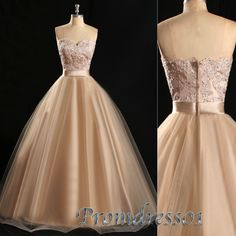 Princess champagne organza strapless prom dress, sweetheart dress for teens,ball gown, puffy dress, long evening dress, 2016 occasion dress from #promdress01 #promdress www.promdress01.c... #coniefox #2016prom
