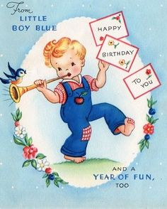Vintage Birthday Card Little Boy Blue