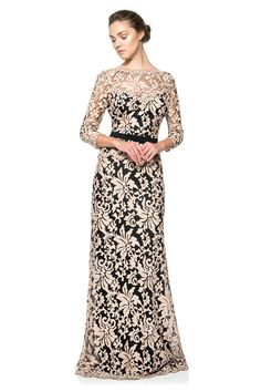 Illusion Lace ¾ Sleeve Gown | Tadashi Shoji. Kinda love these colors for some reason...