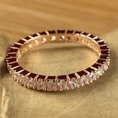 2 ct White Zircon Rose Gold over 925 Sterling Silver Eternity Wedding Band Ring SD SM093R0098-RG. Starting at $1