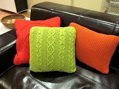 DIY sweater pillows... good tips & links