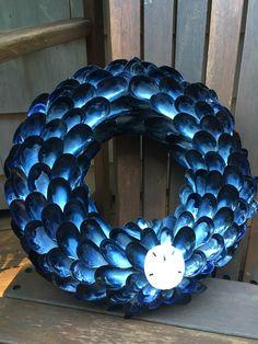 Blue Mussel Shell Wreath Coastal Decor Wreath, Seashell Wreath, Beach Decor Wreath by CoastalCornucopia on Etsy https://www.etsy.com/listing/478318025/blue-mussel-shell-wreath-coastal-decor