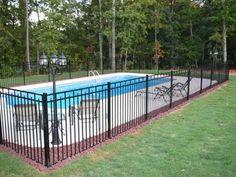 Galvanized Iron Railing Iron fence panels Swimming Pool raiing and I like having a light Backyard Pool Landscaping, Backyard Fences, Yard Fencing, Landscaping Ideas, Backyard Ideas, Acreage Landscaping, Patio Ideas, Outdoor Ideas, Iron Fence Panels