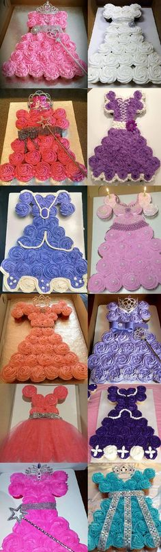 Second from top pink uses 24 cupcakes - Princess Cupcake Cake The Ultimate Collection Princess Cupcake Dress, Princess Cupcakes, Princess Dresses, Princess Party, Princess Wedding, Easy Princess Cake, Cupcake Dress Cake, Pull Apart Cupcake Cake, Pull Apart Cake