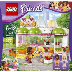 LEGO Friends Heartlake Juice Bar 41035 (673419207744) Head down with andrea to the heartlake juice bar for a delicious fruity drink! Decide where to sit and look at the menu card with all of its delicious fruit drinks, smoothies and sandwiches and order from naya at the counter. Help naya use the delicious box of fruits to make the drink in the blender or the juice squeezer and then take it out to andrea on the sun terrace. Complete with her handbag, she s ready for a lovely day in heartlake…