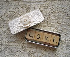 Scrabble magnet wedding favor spells out love