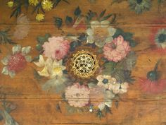 Painted soundboard Dufour harpsichord. Geometrical rose made of layers of cut and punched parchment.