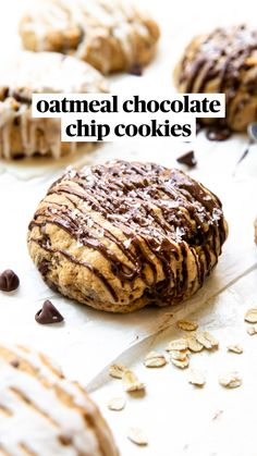 Desserts With Chocolate Chips, Oatmeal Chocolate Chip Cookies, Double Chocolate Chip Cookie Recipe, Best Oatmeal Cookies, Banana Bread Cookies, Chocolate Chip Recipes, Fun Baking Recipes, Bakery Recipes, Bake Goods Recipes